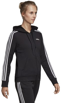 adidas Essentials 3-Stripes Zip-Up Hooded Track Top in Cotton Mix with Pocket