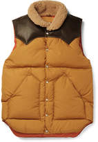 Rocky Mountain Featherbed Slim-fit Leather And Shearling-trimmed Shell Down Gilet