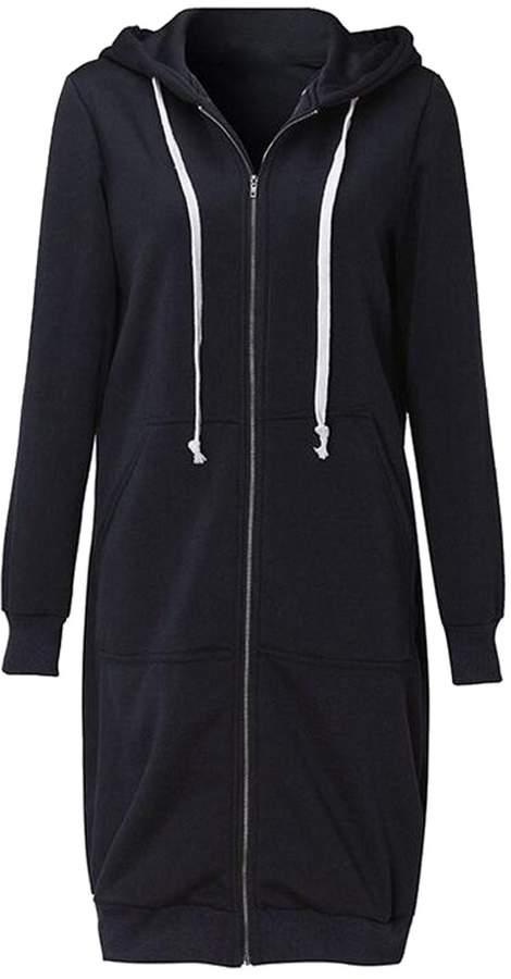 de491f9ac LD-women clothes LD Womens Plus Size Solid Full-Zip Mid Length Hooded  Sweatshirts Coat XL