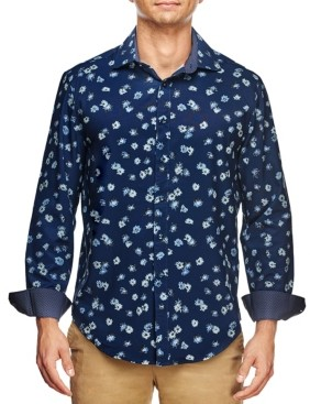 Tallia Men's Slim Fit Tossed Flower Print Long Sleeve Shirt and a Free Face Mask