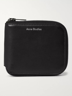 Acne Studios Logo-Print Leather Zip-Around Wallet