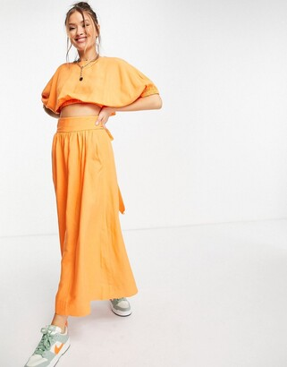 And other stories & ecovero co-ord skater midi skirt in orange