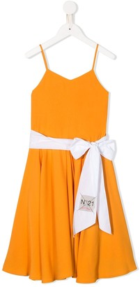 No21 Kids Bow Detail Flared Dress