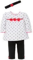 Little Me 3-Pc. Cotton Headband, Dot-Print Tunic and Leggings Set, Baby Girls (0-24 months)