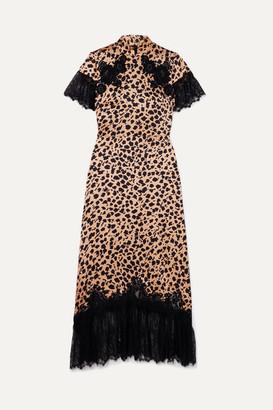Saloni + Venyx Ryder Lace-trimmed Leopard-print Silk-satin Midi Dress - Black