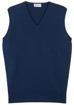 John Smedley Hadfield Blue Merino Wool Top