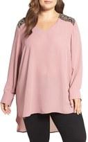 Melissa McCarthy Beaded Shoulder High/Low Blouse (Plus Size)