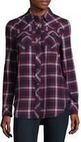 True Religion Women's Georgia Long Sleeve Cotton Plaid Shirt