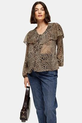 Topshop Womens **Maternity Animal Heart Print Blouse - True Leopard