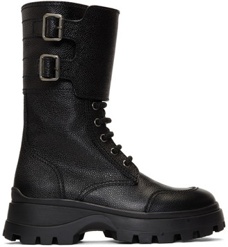 Miu Miu Black Military Combat Buckle Boot