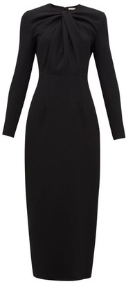 Emilia Wickstead Remy Gathered Crepe Midi Dress - Black