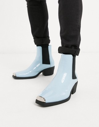 Asos DESIGN cuban heel western chelsea boots in blue patent with hardware detail