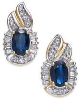 Macy's Sapphire (1-1/5 ct. t.w.) & Diamond (1/4 ct. t.w.) Drop Earrings in 14k Gold