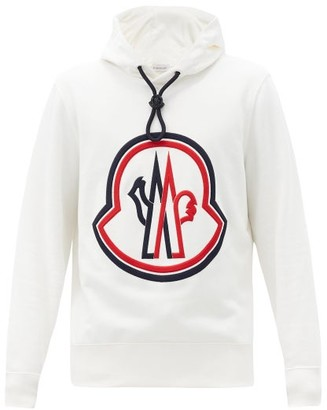 Moncler Logo-embroidered Cotton-jersey Hooded Sweatshirt - White
