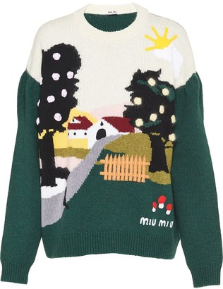 Miu Miu Embellished Landscape Intarsia Sweater
