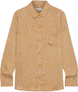 Equipment Leema Floral-print Washed-satin Shirt