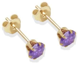 9ct Gold Amethyst Coloured CZ Stud Earrings