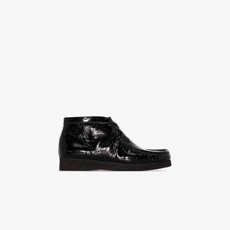 Clarks black Wallabee patent leather boots