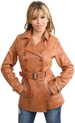House Of Leather Ladies Double Breasted Mid Length Trench Leather Coat Fitted Reefer Jacket Sienna Tan (16)