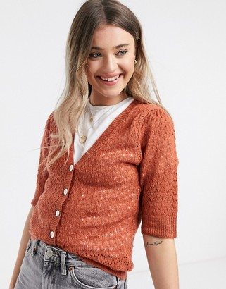 JDY puff v neck short sleeve cardigan in red