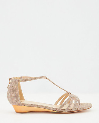 Le Château Glitter T-Strap Open Toe Wedge Sandal