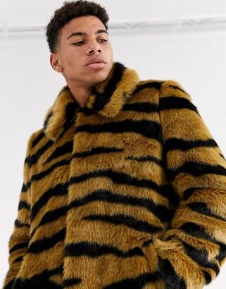 Urban Code Urbancode faux fur jacket in tiger