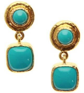 Elizabeth Locke 19K Yellow Gold & Sleeping Beauty Turquoise Drop Earrings