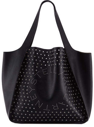 Stella McCartney Large Logo Tote Bag with Eyelets and Studs
