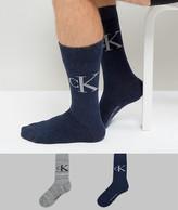 Calvin Klein Crew Socks Vintage Logo 2 Pack Grey