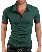 Elonglin Mens Summer Polo Shirts Short Sleeve Contrast Color