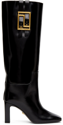 Versace Black Leather Meander Boots