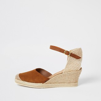 River Island Ravel brown suede espadrille wedge sandals