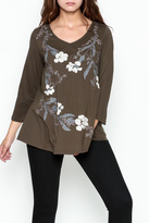 LA Blend Bronze Embroidered Top