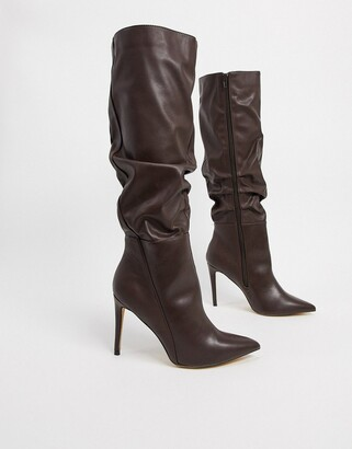 London Rebel pointed knee high boot in chocolate