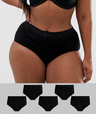 Yours Curve 5 pack black knickers