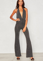 Missy Empire Rumer Black Glitter Extreme Plunge Flared Jumpsuit