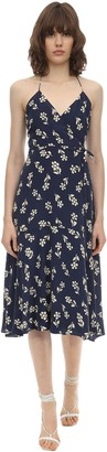 Mirae Bella Printed Satin Midi Wrap Dress