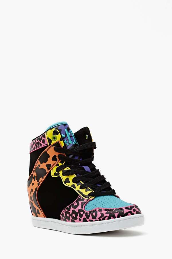 Nasty Gal Neon Feline Wedge Sneaker