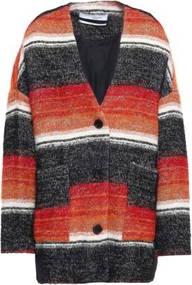 IRO Striped Cotton-blend Boucle-tweed Coat