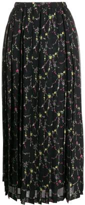 Junya Watanabe Floral-Print Pleated Skirt
