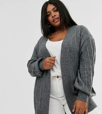 Asos DESIGN Curve coatigan in fluffy yarn-Grey