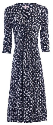 Dorothy Perkins Womens Jolie Moi Navy Leafy Print Midi Fit And Flare Dress