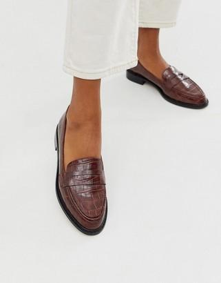 Asos Design DESIGN Mantra loafer flat shoes in brown croc