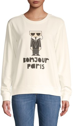 Karl Lagerfeld Paris Bonjour Graphic Sweatshirt
