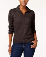 Karen Scott Petite Marled Henley Sweater, Created for Macy's