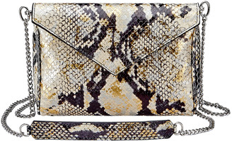 GiGi New York Lena Envelope Snake-Print Crossbody Bag