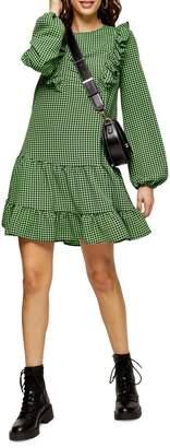 Topshop TALL Green Ruffle Gingham Mini Dress