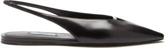 Prada Point-toe Spazzolato-leather Slingback Flats - Black