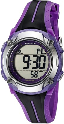 Armitron Sport Women's 45/7063PUR Digital Chronograph Black and Purple Resin Strap Watch
