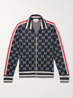 Gucci Striped Logo-Intarsia Cotton Track Jacket